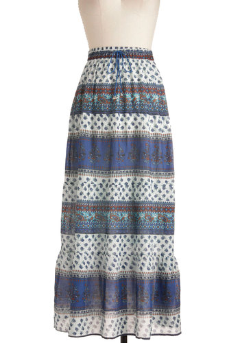 Incense of Style Skirt in Sapphire - Long, Casual, Boho, Multi, Floral, Blue, Red, White, Paisley, Summer, Cotton, Travel