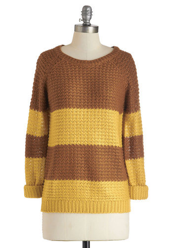 Mix in Muscovado Sweater by Louche - International Designer, Mid-length, Brown, Yellow, Knitted, Casual, Long Sleeve, Travel