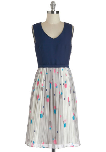 Effervescence and Sensibility Dress - Pleats, Party, Vintage Inspired, A-line, Sleeveless, Long, Blue, Grey, Twofer, V Neck, Pink, Polka Dots