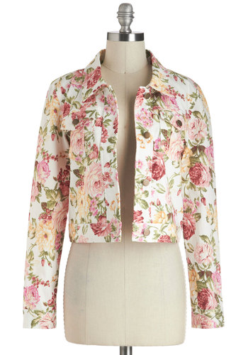 Cropped Rotation Jacket by Tulle Clothing - White, Yellow, Green, Pink, Floral, Buttons, Pockets, Long Sleeve, Short, 1, Vintage Inspired, 90s, Pastel