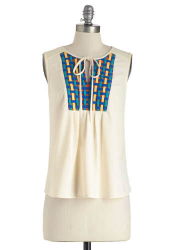 Staying on A-Tasket Top - Cream, Sleeveless, Sheer, Mid-length, Multi, Cutout, Woven, Casual, Summer
