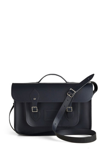 Cambridge Satchel Upwardly Mobile Satchel in Navy - 15in by The Cambridge Satchel Company  - Blue, Solid, Buckles, Pockets, Casual, Vintage Inspired, Leather, Work, Scholastic/Collegiate, International Designer, Graduation, Basic, Fall, Urban