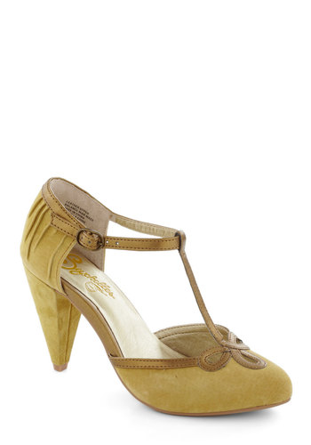 All Dressed Up Heel in Mustard by Seychelles - Mid, Leather, Yellow, Cutout, Party, Vintage Inspired, 40s, Variation