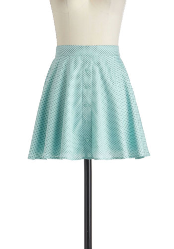 Or So You Spot Skirt - Green, Blue, Polka Dots, Buttons, Daytime Party, A-line, Short, Casual, Mint