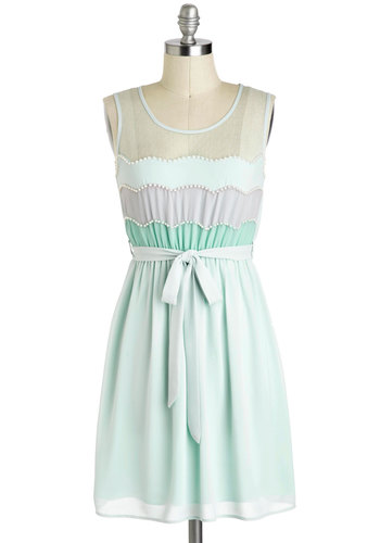 Grace of Cakes Dress - Blue, Purple, Mint, Scallops, Belted, Pastel, A-line, Sleeveless, Pearls, Party, Daytime Party, Mid-length, Beads