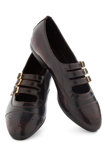 Glam-tiques Roadshoe Flat by Bass - Brown, Solid, Buckles, Menswear Inspired, Flat, Leather, Cutout