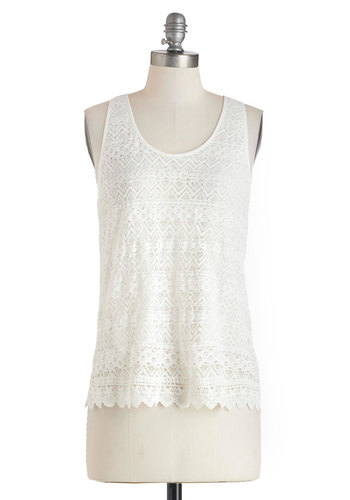 Crochet Moi Top - Mid-length, White, Solid, Crochet, Sleeveless, Casual, Scoop