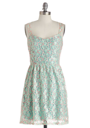 A Fine Outline Dress - Mint, Pink, Lace, A-line, Sweetheart, Spaghetti Straps, Backless, Floral, Party, Graduation