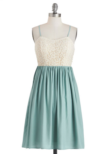 Garden et Moi Dress - Mint, Tan / Cream, Lace, Casual, A-line, Spaghetti Straps, Sweetheart, Mid-length, Cotton, Twofer, Summer
