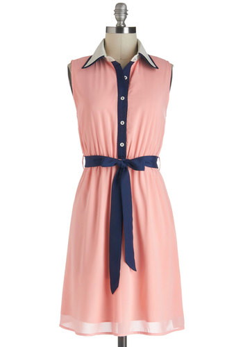 Strolling the Seashore Dress in Peach - Chiffon, Mid-length, Pink, Blue, Buttons, Belted, Casual, Shirt Dress, Sleeveless, Collared, Nautical, Variation