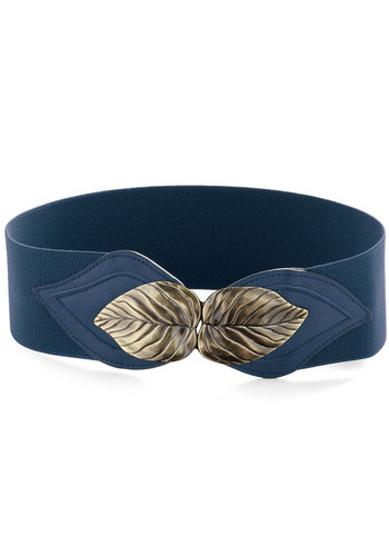 Can't Leaf It Be Belt in Blue - Blue, Solid, Casual, Bronze, Variation