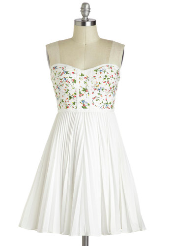 Sweetest Days Dress - White, Pleats, Vintage Inspired, A-line, Strapless, Multi, Sweetheart, Daytime Party, Floral, Beach/Resort, Mid-length, Graduation