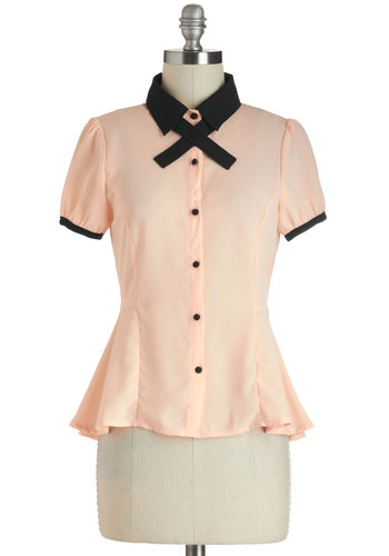 Pleasant Tense Top - Sheer, Short, Pink, Black, Solid, Buttons, Work, Vintage Inspired, Short Sleeves, Collared