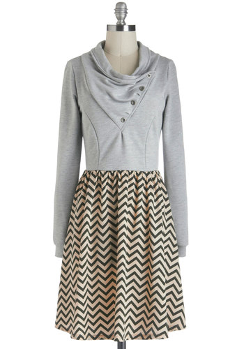 Find Your Angle Dress - Tan / Cream, Black, Buttons, Casual, Twofer, Long Sleeve, Cowl, Grey, Print, Mid-length, Chevron