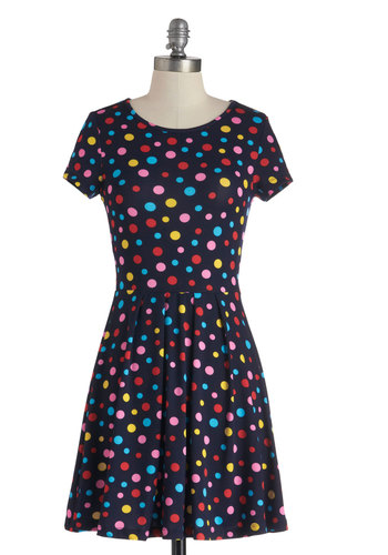 Always a Party Dress - Short, Blue, Red, Yellow, Blue, Pink, Polka Dots, Pleats, Casual, A-line, Cap Sleeves, Mod, Statement