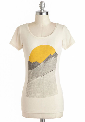 Alpine Shine Tee by Kin Ship - Cotton, Mid-length, White, Yellow, Casual, Short Sleeves, Novelty Print, Travel, White, Short Sleeve, Festival, Spring, Summer