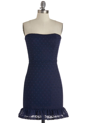 Navy In My Life Dress - Blue, Solid, Cutout, Lace, Ruffles, Party, Shift, Strapless, Girls Night Out, Prom, Lace, Mid-length