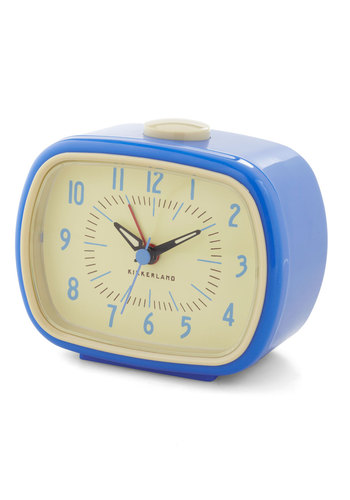 It's About Timeless Alarm Clock by Kikkerland - Blue, Vintage Inspired, 60s, 70s, Graduation, Mid-Century, Good