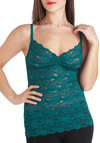Fetching Femme Camisole in Teal - Green, Blue, Solid, Lace, Vintage Inspired, Spaghetti Straps, Sheer, Variation