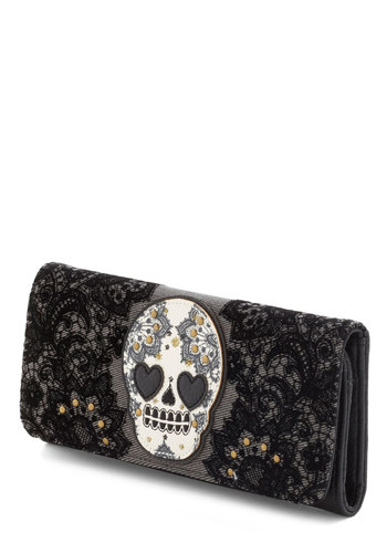 Noggin at Your Door Wallet in Amour by Loungefly - Black, Lace, Studs, Grey, White