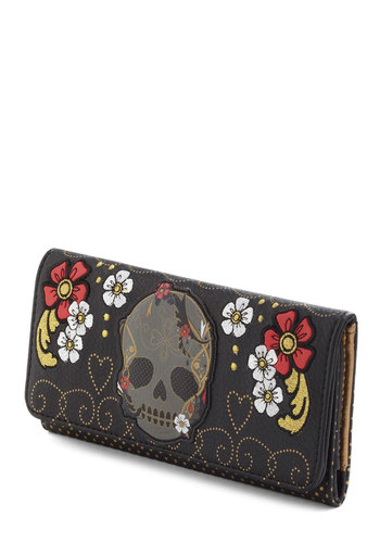 Noggin at Your Door Wallet in Fleur - Black, Multi, Embroidery, Novelty Print, Studs, Statement