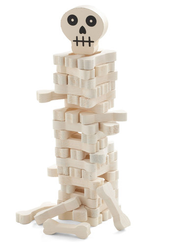 No Funny Bones About It Stacking Game by Kikkerland - Cream, Dorm Decor, Handmade & DIY, Quirky, Good, Halloween