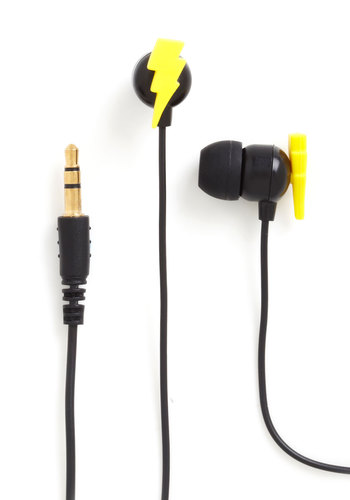 Bolt to the Beat Earbuds by Kikkerland - Black, Yellow, Music, Travel