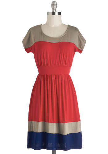 Out to the Ball Game Dress - Mid-length, Red, Blue, Tan / Cream, Casual, Colorblocking, A-line, Short Sleeves, Variation, Travel