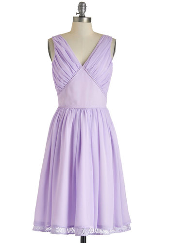 Ooh La Lavender Dress - Purple, Solid, Wedding, Daytime Party, Pastel, A-line, Sleeveless, V Neck, Exclusives, Long, Prom, Bridesmaid