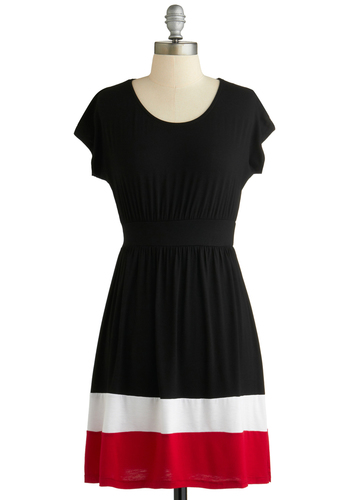 Out to the Ball Game Dress in Black - Mid-length, Black, Red, White, Solid, Casual, A-line, Short Sleeves, Exclusives, Variation, Travel