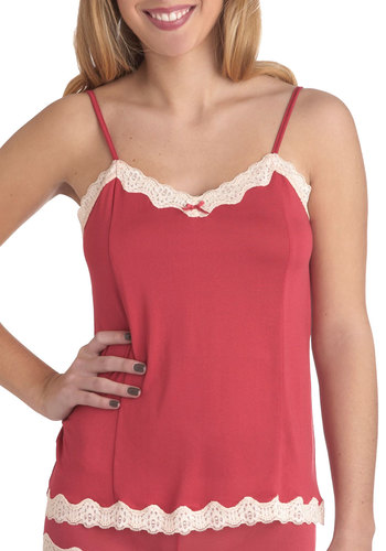 Daily Luxe Camisole in Red - Red, Solid, Bows, Lace, Trim, Spaghetti Straps, White