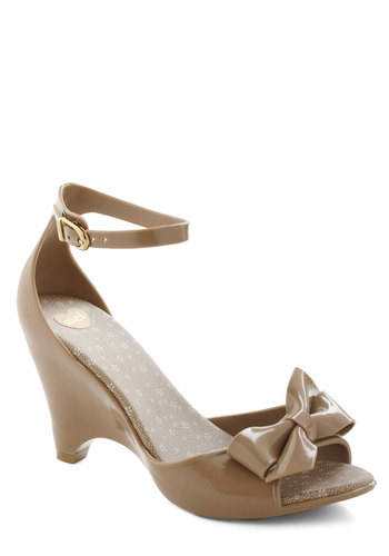 All Dolled Up Wedge in Day by Mel Shoes - Tan, Solid, Bows, Wedge, Mid, International Designer, Variation, Graduation