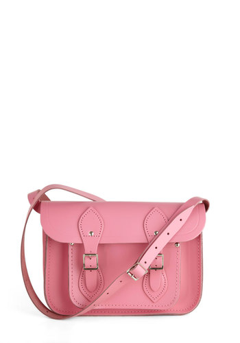 "Cambridge Satchel Company Bag in Pink - 11"" by The Cambridge Satchel Company  - Pink, Solid, Buckles, Pockets, Casual, Leather, Scholastic/Collegiate, International Designer, Graduation, Work"