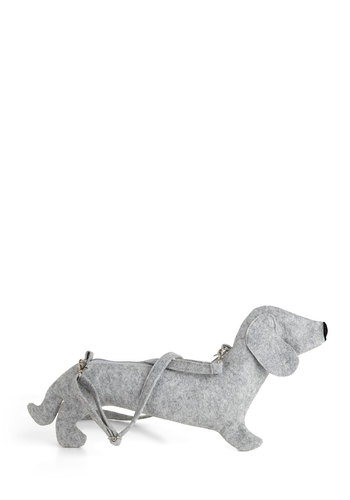Doggie Bag - Grey, Solid, Kawaii, Print with Animals