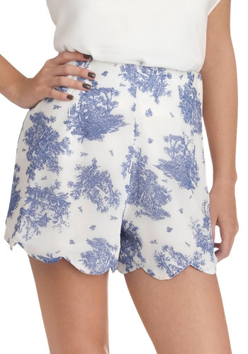 Georgette On My Mind Shorts - Blue, Print, Daytime Party, Vintage Inspired, White, Scallops, Casual
