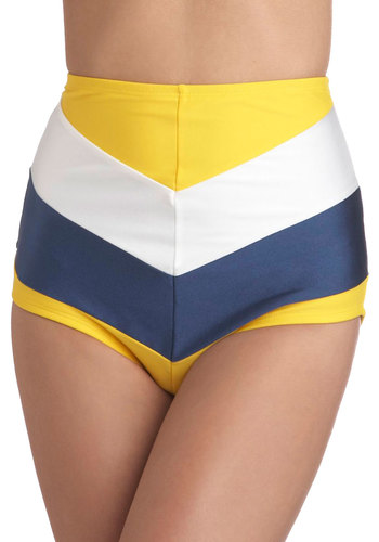 Sailorette at Sea Swimsuit Bottom in Yellow & Blue by Fables by Barrie - Blue, White, Stripes, Rockabilly, Pinup, Vintage Inspired, 50s, Summer, Yellow, High Waist, Chevron, Nautical