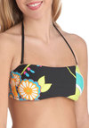 Midnight Swim Swimsuit Top - Black, Multi, Halter, Floral, Beach/Resort, Vintage Inspired, 60s, Strapless, Summer