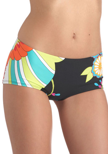 Midnight Swim Swimsuit Bottom - Black, Multi, Floral, Beach/Resort, Vintage Inspired, 60s, Summer