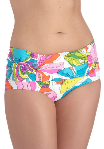 Sun Decked Out Swimsuit Bottom - Multi, Blue, White, Floral, Ruching, Beach/Resort, Vintage Inspired, 60s, Summer