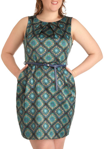 Crocheted You Look Dress in Plus Size - Blue, Print, Sheath / Shift, Sleeveless, Multi, Party, Pockets, Belted, Work