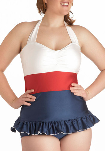 Pelagic Gal Two Piece in Plus Size by Fables by Barrie - Blue, White, Solid, Beach/Resort, Pinup, Nautical, Vintage Inspired, 40s, 50s, 60s, Summer