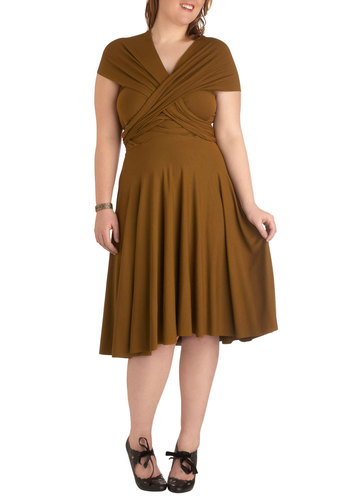 Swish it Up Dress in Olive - Plus Size by Monif C - Green, Solid, Short Sleeves, Cap Sleeves, Halter, A-line, Sleeveless, Strapless, One Shoulder, Party, Summer