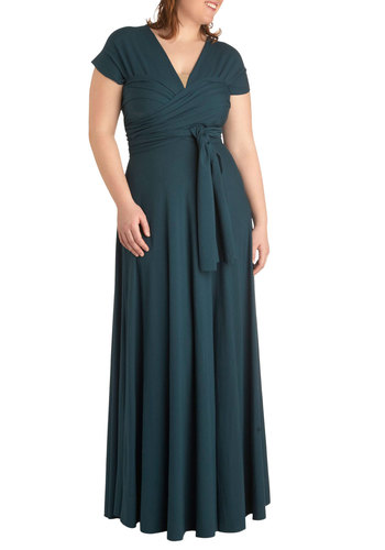 Swish it Up Maxi Dress in Teal - Plus Size by Monif C - Jersey, Blue, Solid, Maxi, Wrap, Short Sleeves, Cap Sleeves, Halter, Party, Luxe, Minimal