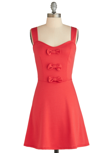 Strawberry Sure Bet Dress - Mid-length, Red, Solid, Bows, Casual, Fit & Flare, Tank top (2 thick straps), Sweetheart, Exclusives, Summer