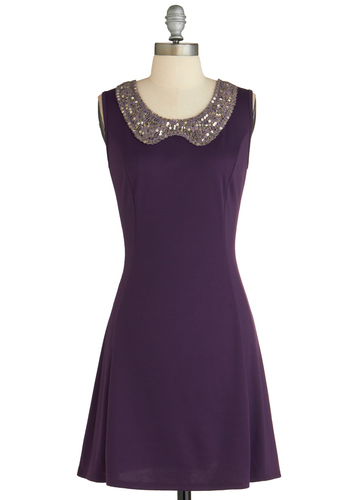 That Subtle Sparkle Dress - Mid-length, Purple, Solid, Sequins, Party, Sleeveless, Cutout, A-line, Exclusives