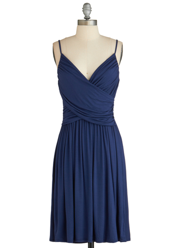 Well How Do You Do? Dress - Mid-length, Blue, Solid, Ruching, Casual, Minimal, A-line, Spaghetti Straps, V Neck, Exclusives