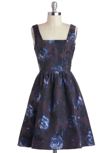 Sheen and Heard Dress - Floral, Party, A-line, Sleeveless, Mid-length, Blue, Pockets, Purple