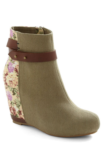 Meet Me in Denver Bootie in Floral - Green, Multi, Solid, Floral, High, Wedge
