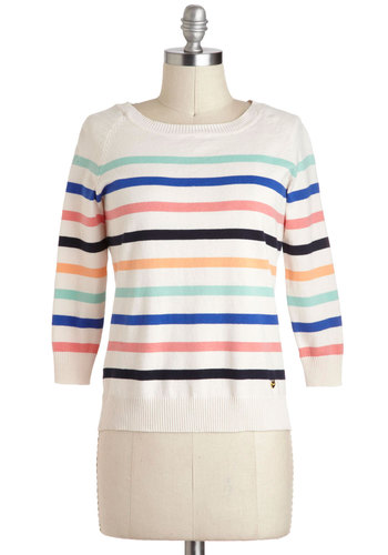 Just Palette Around Sweater by Yumi - Cream, Green, Blue, Pink, Black, Stripes, Casual, Cotton, Mid-length, Vintage Inspired, 60s, Pastel