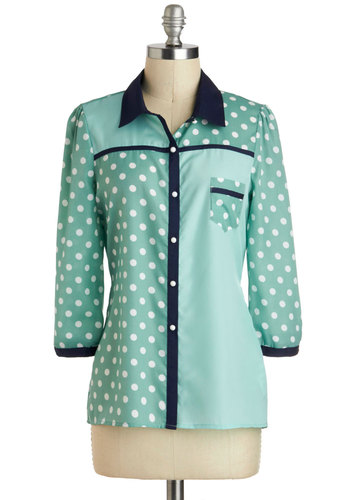 Collage on Me Top by Yumi - Green, Blue, White, Polka Dots, Buttons, Pockets, Long Sleeve, Mid-length, Pastel, Work